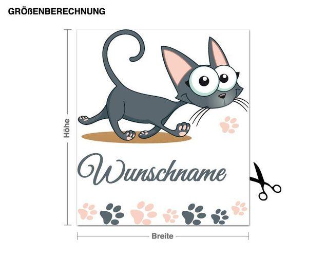 Wunschtext-Wandsticker Mietzekatze
