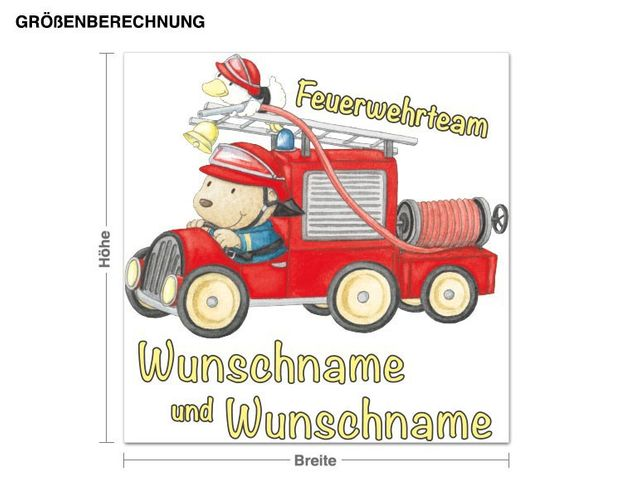 Wunschtext-Wandsticker Steinbeck Feuerwehrteam