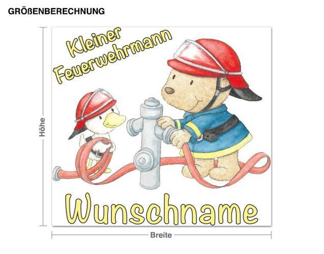Wunschtext-Wandsticker Steinbeck Kleiner Feuerwehrmann