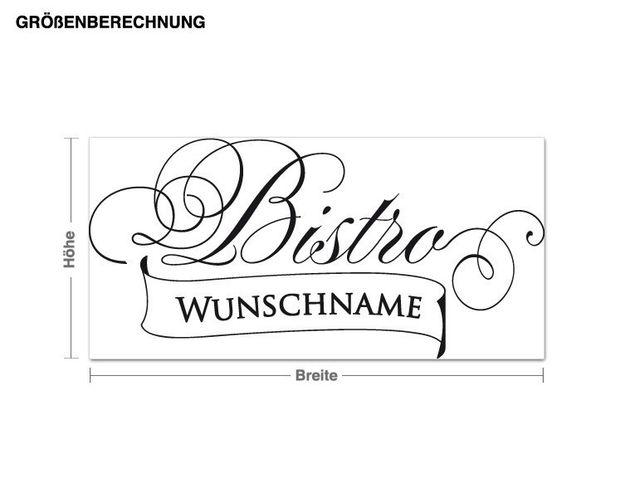 Wunschtext-Wandtattoo Bistro Wunschname