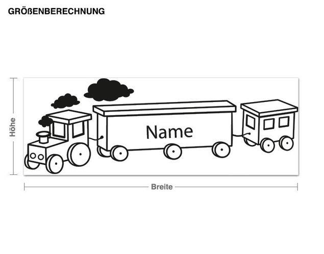 Wunschtext-Wandtattoo Eisenbahn