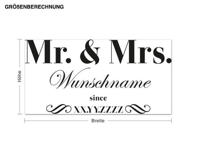 Wunschtext-Wandtattoo Mr. & Mrs. Name