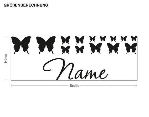 Wunschtext-Wandtattoo Schmetterlingsdeko