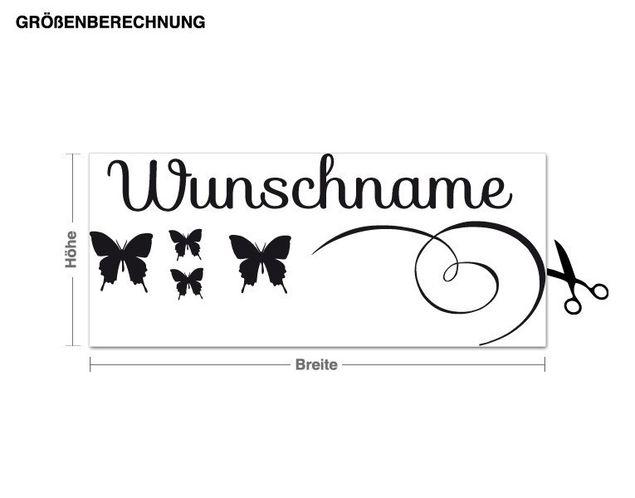 Wunschtext-Wandtattoo Schmetterlingsname