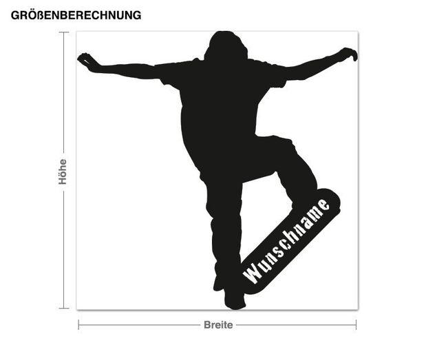 Wunschtext-Wandtattoo Skater