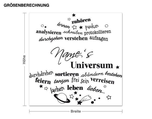 Wunschtext-Wandtattoo Universum