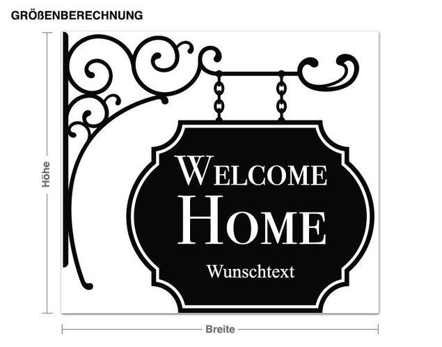 Wunschtext-Wandtattoo Welcome Home