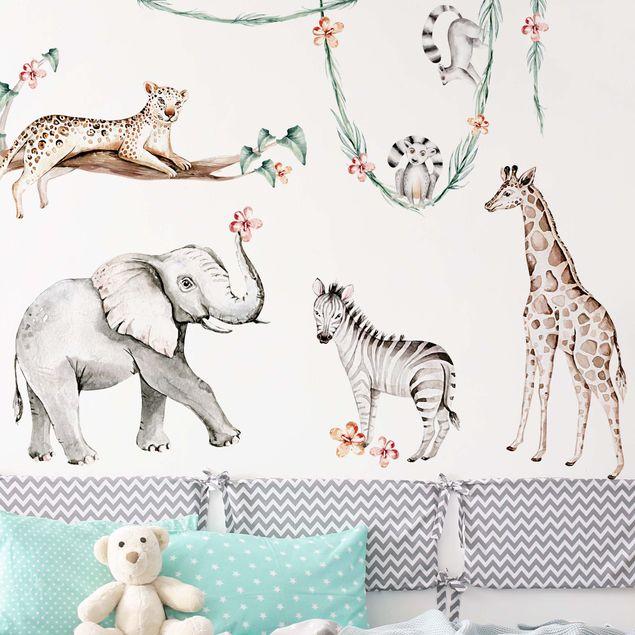 Wandtattoo mehrfarbig - XXL Aquarell Afrika Tiere Set