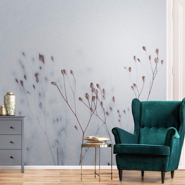 Metallic Tapete - Zartblaue Wildblumen