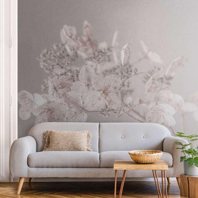 Metallic Tapete - Zarte weiße Hortensie