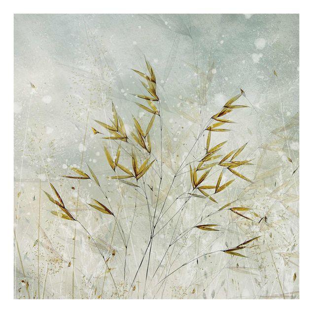 Spritzschutz Glas - Zarte Zweige im Winternebel - Quadrat 1:1