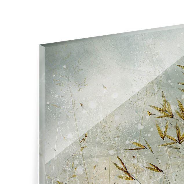 Spritzschutz Glas - Zarte Zweige im Winternebel - Querformat 3:2