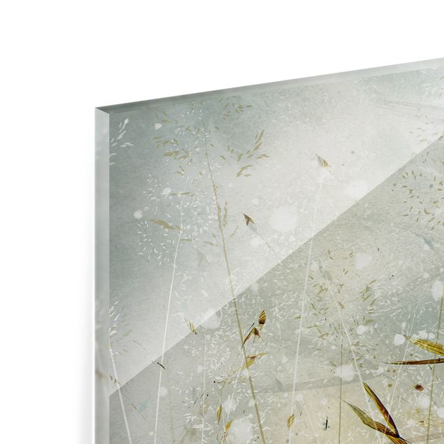 Spritzschutz Glas - Zarte Zweige im Winternebel - Panorama 5:2