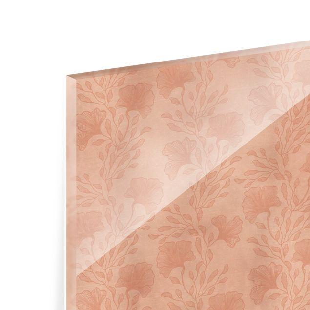 Spritzschutz Glas - Zarte Zweige in Rosegold - Querformat 3:2