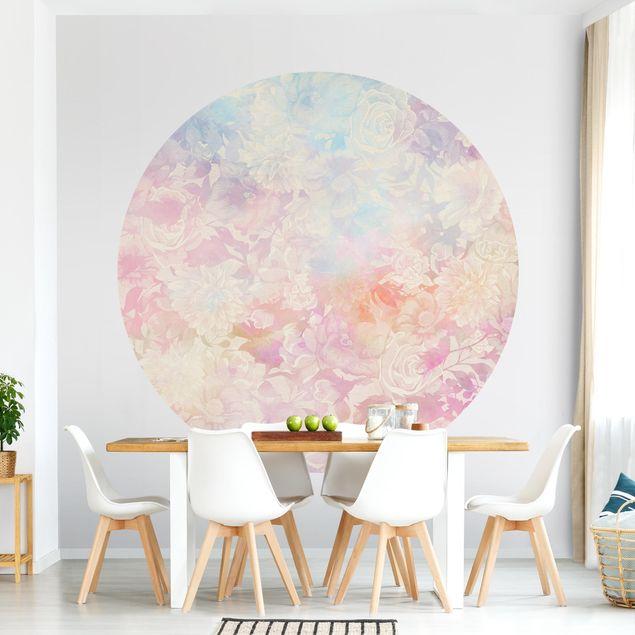 Runde Tapete selbstklebend - Zarter Blütentraum in Pastell