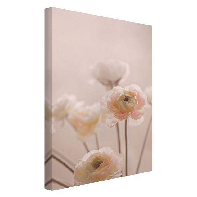 Leinwandbild - Zarter Strauch an Rosa Blüten - Hochformat 2:3