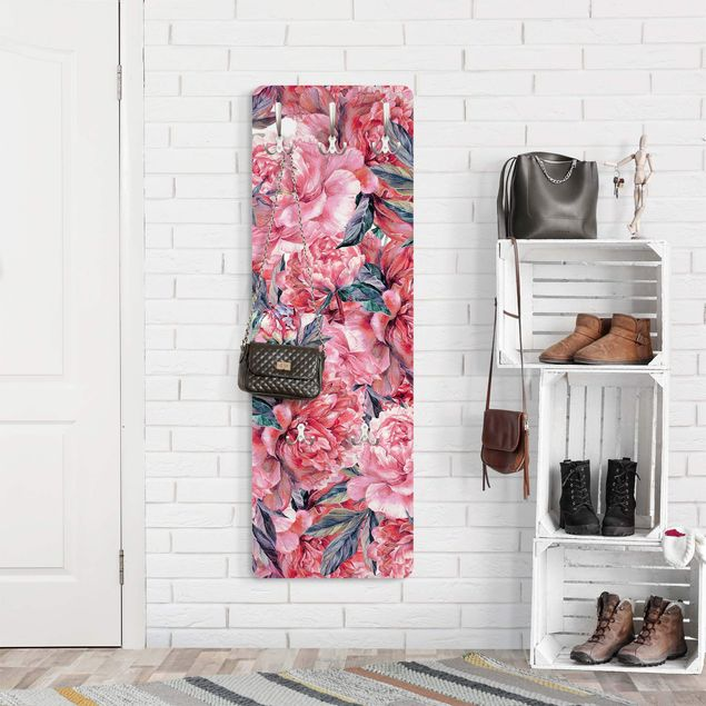 Garderobe - Zartes Aquarell Rote Pfingstrosen Muster