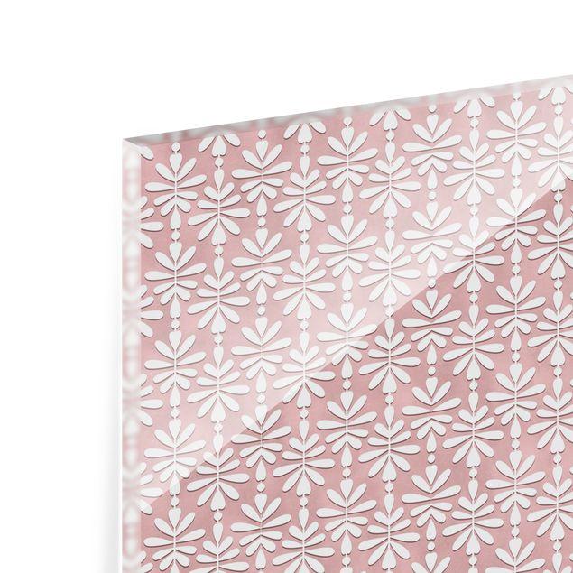 Spritzschutz Glas - Zartes Muster in Altrosa - Querformat 2:1