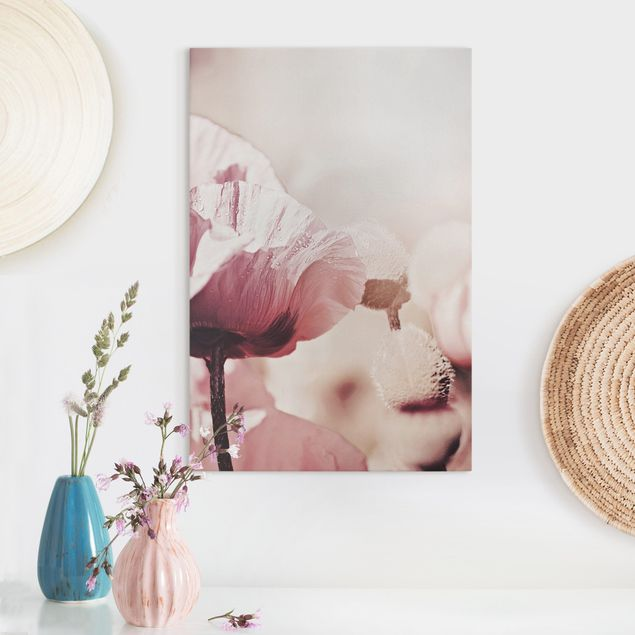 Leinwandbild - Zartrosane Mohnblüte mit Wassertropfen - Hochformat 2:3