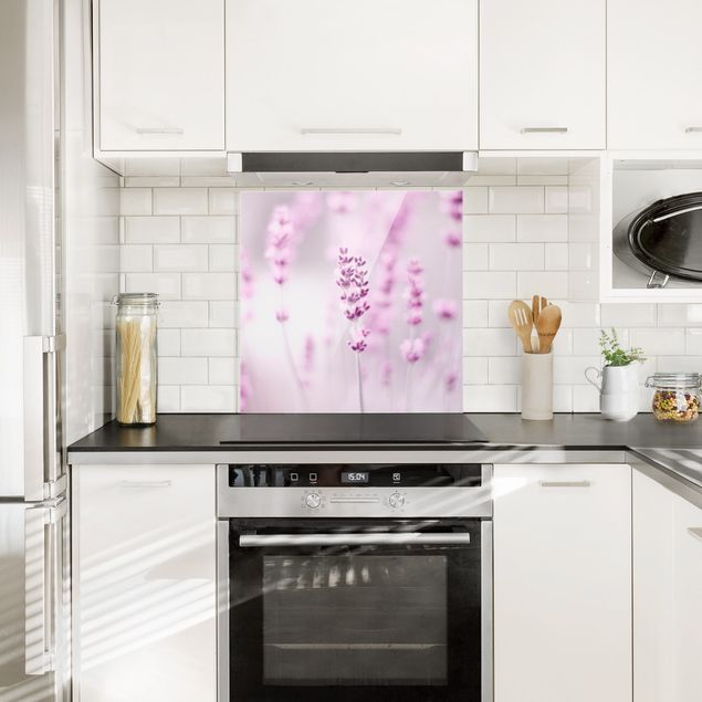 Spritzschutz Glas - Zartvioletter Lavendel - Quadrat 1:1