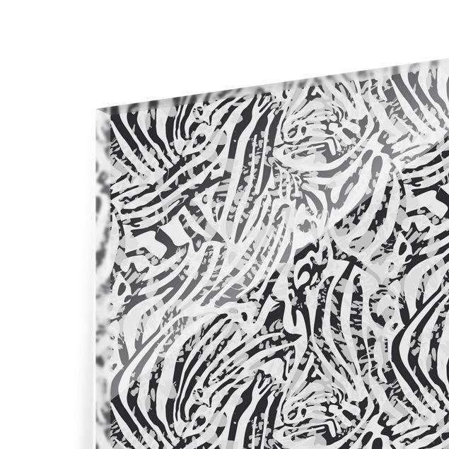 Spritzschutz Glas - Zebramuster in Grautönen - Querformat 3:2