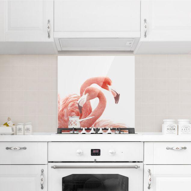 Spritzschutz Glas - Zwei Flamingos - Quadrat 1:1